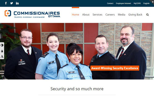 Commissionaires Ottawa public website