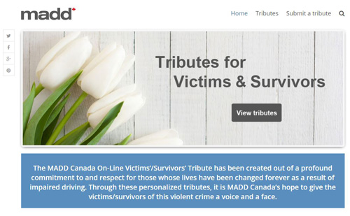 MADD Canada Tributes English site